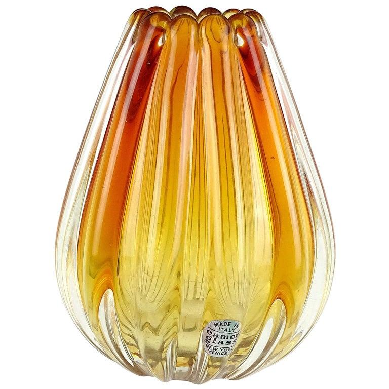 Flavio Poli Seguso Vetri d'Arte Murano Sommerso Orange Italian Art Glass Vase For Sale