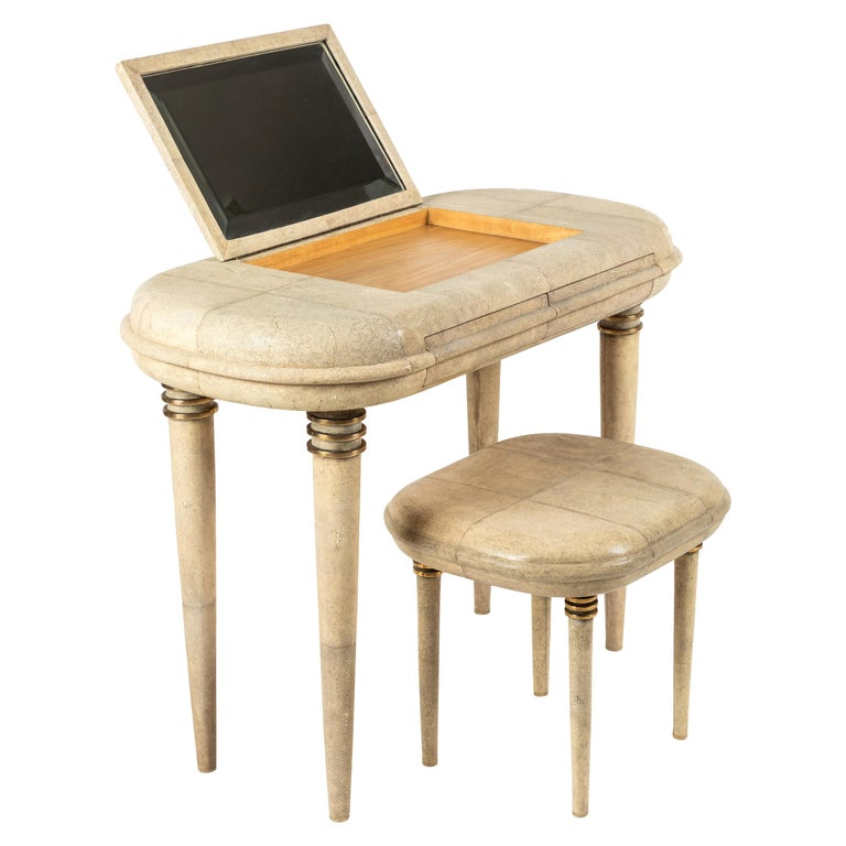 Shagreen Dressing Table and Stool by R&Y Augousti, Paris For Sale