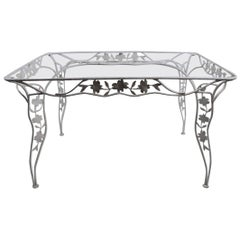 Handwrought Metal and Glass Garden Patio Dining Table