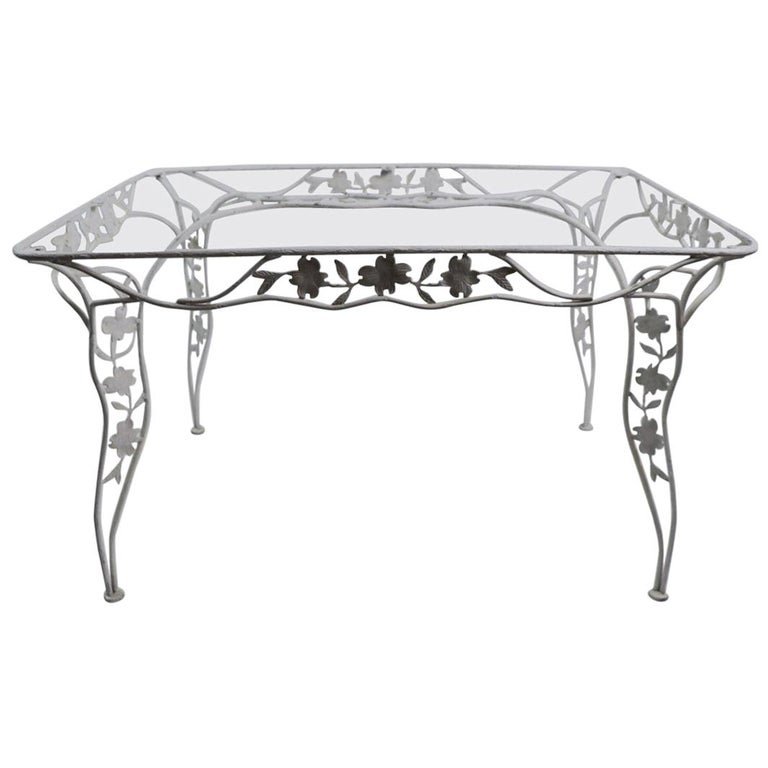 Handwrought Metal and Glass Garden Patio Dining Table For Sale