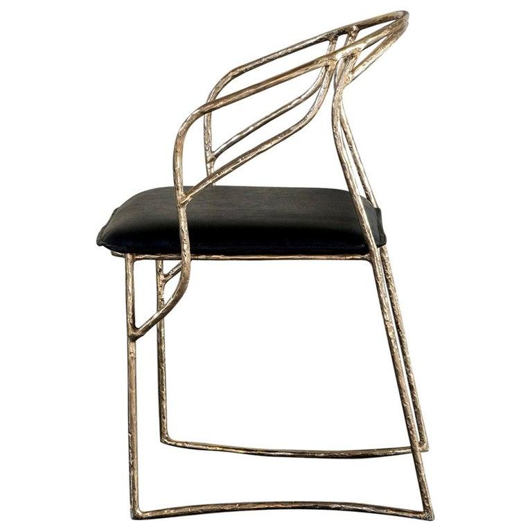 Handsculpted Brass Chair, Masaya For Sale