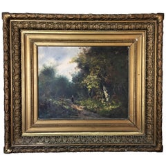 """Edmund Pick-Morino """"Animated Countryside Landscapes"""" Pair of Oils on Canvas"""