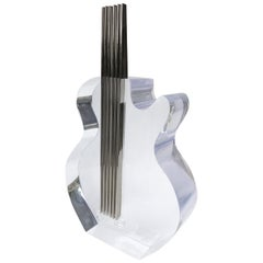 Custom Lucite and Stainless Steel Sculpture of a Guitar