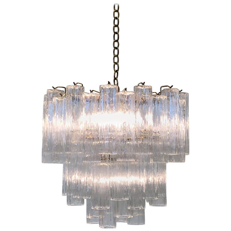 Italian Murano Glass and Brass Chandelier by Venini For Sale