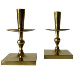 Tommi Parzinger Brass Candlesticks for Dorlyn Silversmiths, New York, 1960s