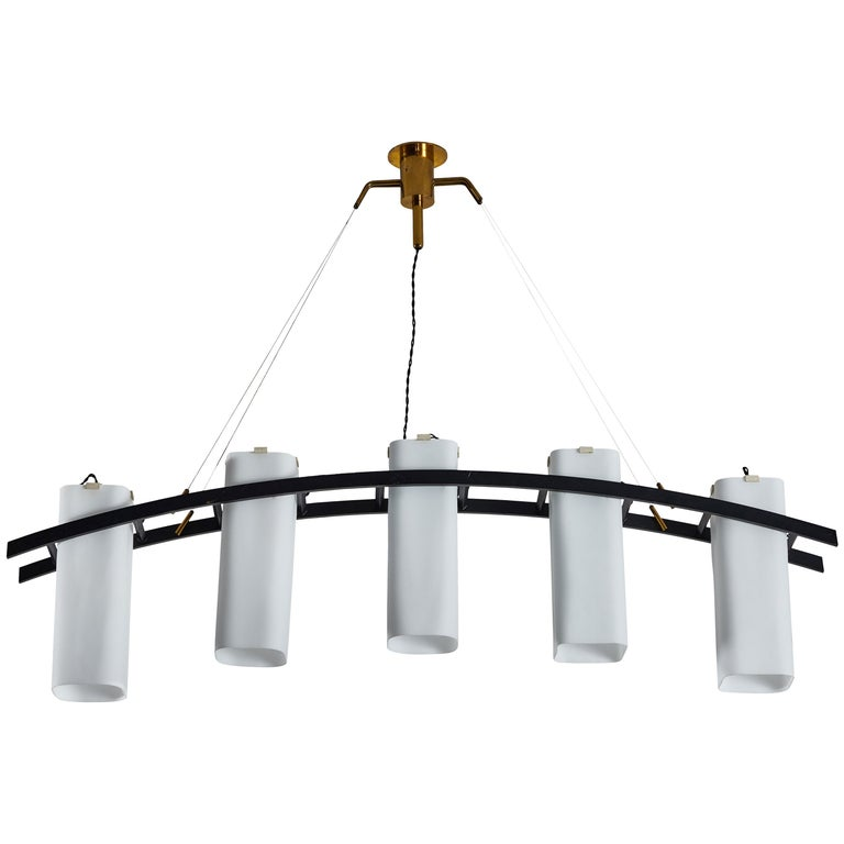 Model No. 12701 Five Shade Chandelier by Angelo Lelli for Arredoluce For Sale