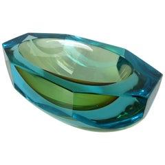 Poli Seguso Vetri d'Arte Murano Sommerso Blue Green Italian Art Glass Bowl