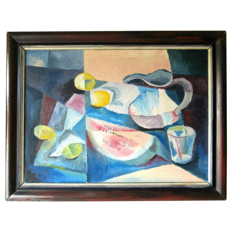 Mid-Century Modern Cubist Oil Painting Signed Dahlquist on Verso Dated, 1950 For Sale
