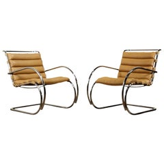 Pair of MR Armchairs by Mies van der Rohe for Knoll International, Signed 1978