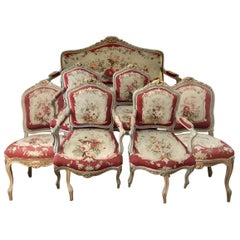 Rococo Style Aubisson Salon Suite, Late 19th Century
