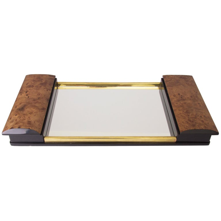 Art Deco Burr Elm and Mirror Glass Tray For Sale
