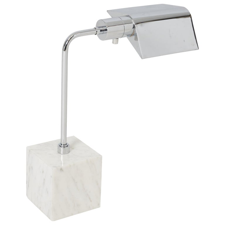Marble and Chrome Desk Lamp, 1970s For Sale