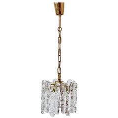 Mid-Century Kalmar Ice Crystal Glass and Brass Pendant Light or Chandelier 1960s