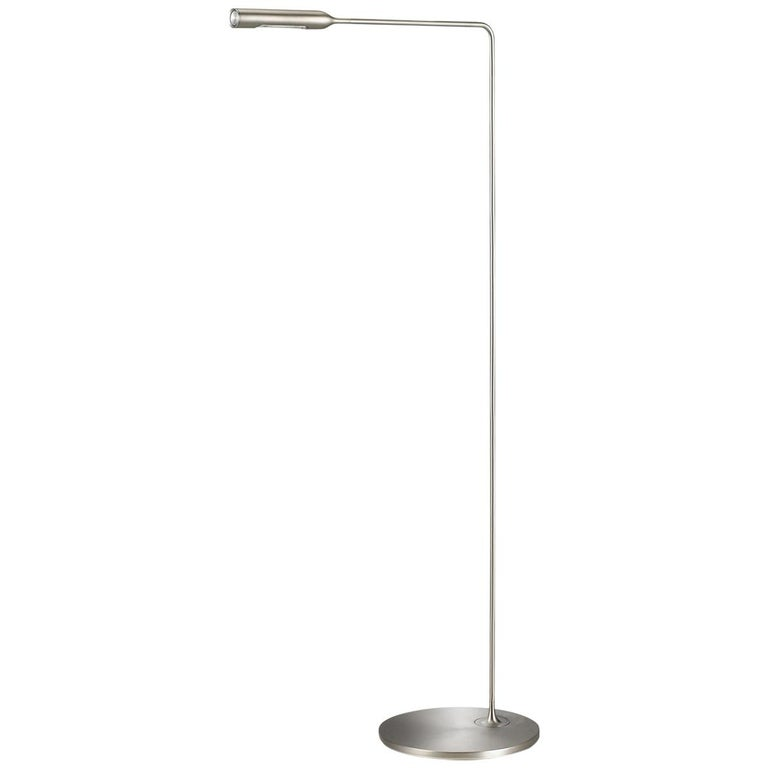 Lumina Flo Lounge Floor Lamp in Brushed Nickel by Foster+Partners For Sale