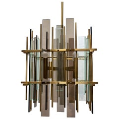 After Fontana Arte Mid-Century Modern Brass and Glass Italian Chandelier, 1970s