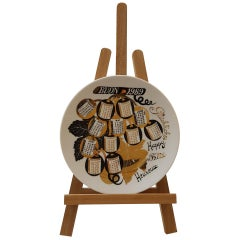 Fornasetti Modern Art Italy Milano Ceramic Calendar Dish, 1969