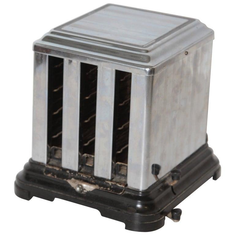 Machine Age Art Deco Skyscraper Belle Kogan Toaster, Chrome and Bakelite, Rare For Sale