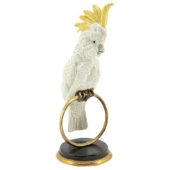 White Parrot on Ring Sculpture in White Porcelain