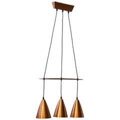 Mid-Century Modern Pendant Lamp in Copper & Teak by Hans-Agne Jakobsson, Sweden