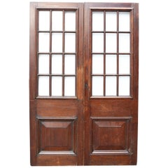 Pair of Antique English Glazed Oak Double Doors