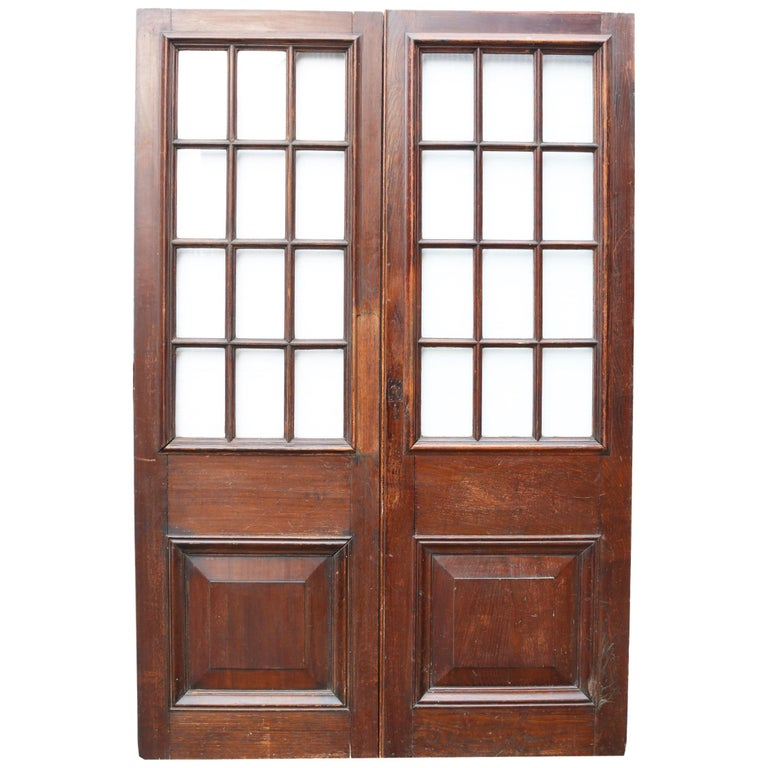 Pair of Antique English Glazed Oak Double Doors For Sale