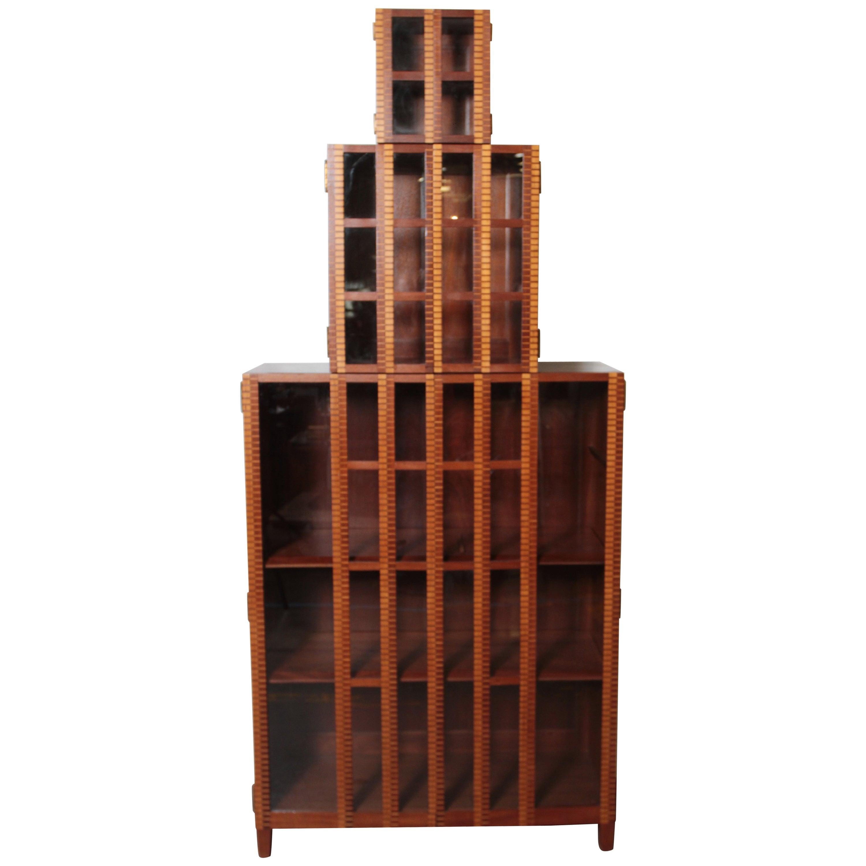 Art Deco Skyscraper Marquetry Bookcase Display Storage Cabinet, Three-Piece