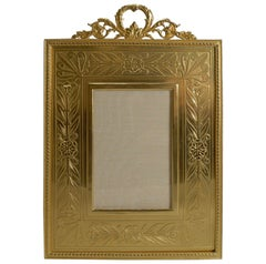 Top Quality French Gilded Bronze Photograph Frame, Engraved Slip, circa 1900