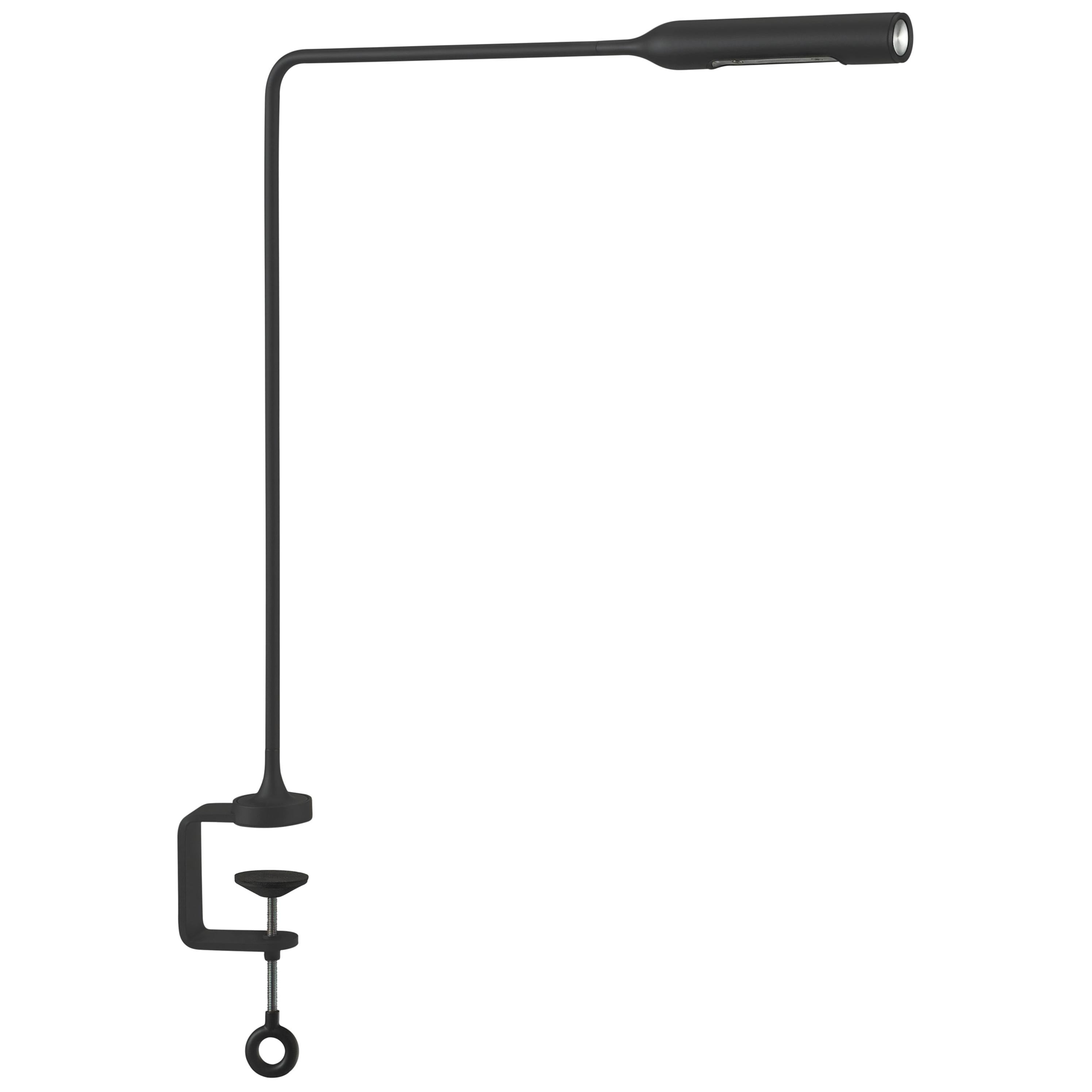Lumina Flo Table Lamp with Clamp in Black Soft-Touch by Foster+Partners