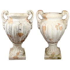 Pair of Natural French Terracotta Urns with Handles