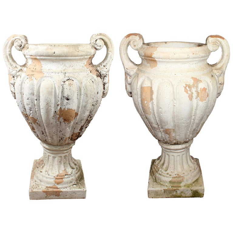 Pair of Natural French Terracotta Urns with Handles For Sale