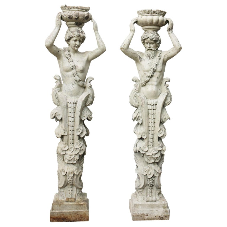 Pair of Herms Depicting a Caryatid and Atlas For Sale