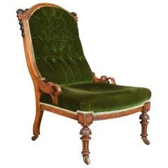 Antique Chair, Scottish, Oak, Button Back, Nursing, Salon, Victorian, circa 1850