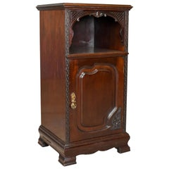 Antique Bedside Cabinet, Carved Mahogany Nightstand, English, circa 1910