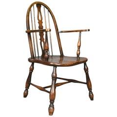 Antiker Stuhl aus Buche und Ulme mit Armlehnen, Englisch, Viktorianisch, Gebogene Lehne, Circa 1890