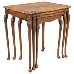 Midcentury Nest of Three Tables, English, Mahogany