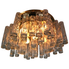 Doria Glass and Brass Flush Mount Tube Chandelier, 1960s