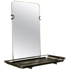 Mathieu Matégot Black Metal Mirror by Artimeta, 1950s