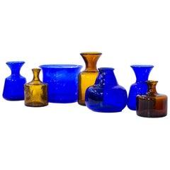 Jahrhundertmitte Moderne Glas Vasen von Erik Höglund, Schweden, 1950er Jahre