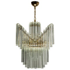 "Venini Midcentury Brass and Murano Glass Italian ""Triedri"" Chandelier, 1960s"