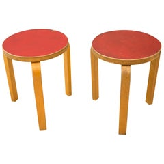 Pair of Stools 60 Designed by Alvar Aalto for Artek, Finland, 1950s