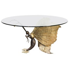 1970s Jacques Duval Brasseur Brass Coffee Table