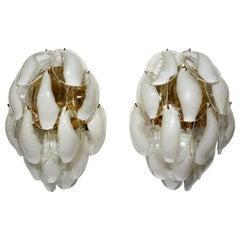 Pair of La Murrina Brass and Murano Glass Italian Sconces, 1980s