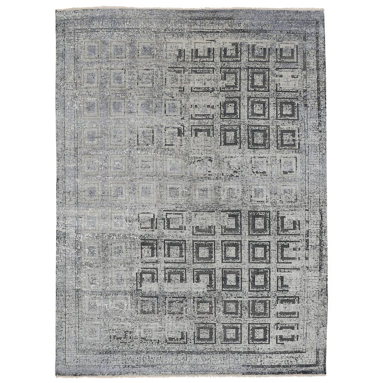 Contemporary Silk Rug with Ancient Byzantine Mosaic Pattern For Sale