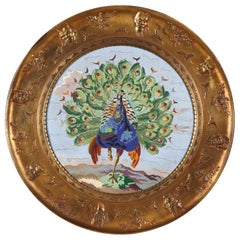 Large Aesthetic Movement Enamelled Plate Attributed to Elkington and A. Willms