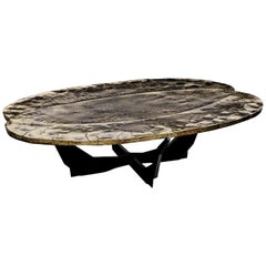 Contemporary Bronze and Black Steel Coffee Table by Atelier Erwan Boulloud