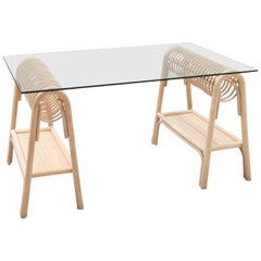 French Modern Design Rattan and Glass Desk