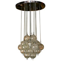Seguso Murano Bubble Chandelier with Chains, Italy, Mid-20th Century