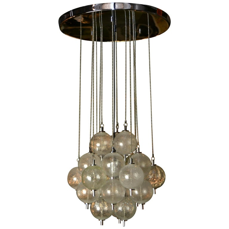 Seguso Murano Bubble Chandelier with Chains, Italy, Mid-20th Century For Sale
