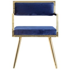 Set of Six Dining Armchairs in Deep Blue Velvet and Gilded Metal
