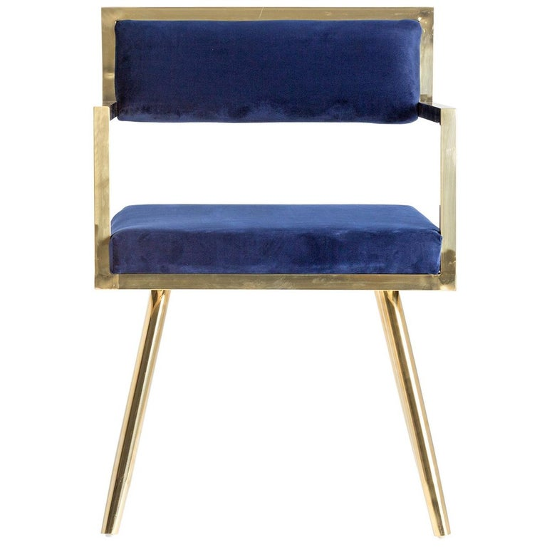 Set of Six Dining Armchairs in Deep Blue Velvet and Gilded Metal For Sale